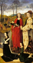 Хуго  ван дер Гус. The Portinari Altarpiece, St. Mary Magdalen and St. Margaret with Maria Baroncelli and Daughter Margherita Portinari, Right Wing