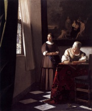 Ян  Вермеер. Lady Writing a Letter with Her Maid