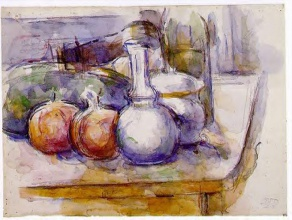 Поль  Сезан. Still Life with Carafe, Sugar Bowl, Bottle, Pommegranates and Watermelon