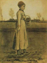 Винсент  ван Гог. Peasant Woman Sowing with a Basket