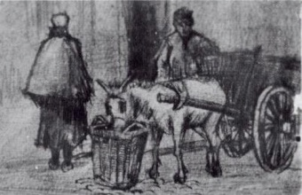 Винсент  ван Гог. Donkey Cart with Boy and Scheveningen Woman
