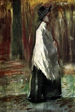Винсент  ван Гог. Woman with White Shawl in a Wood