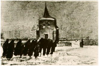 Винсент  ван Гог. Funeral in the Snow near the Old Tower
