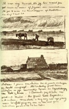 Винсент  ван Гог. Plowman with Stooping Woman, and a Little Farmhouse with Piles of Peat