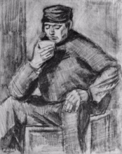 Винсент  ван Гог. Young Man, Sitting with a Cup in his Hand, Half-Length