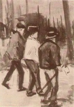 Винсент  ван Гог. Three Woodcutters Walking
