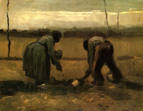 Винсент  ван Гог. Peasant and Peasant Woman Planting Potatoes