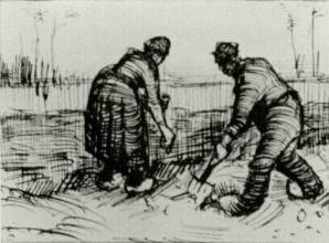 Винсент  ван Гог. Peasant Man and Woman Planting Potatoes