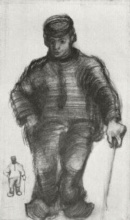 Винсент  ван Гог. Peasant with Walking Stick, and Little Sketch of the Same Figure