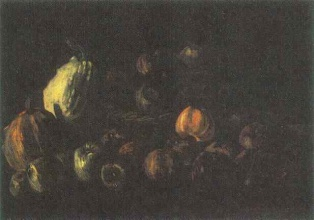 Винсент  ван Гог. Still life with a basket of apples and two pumpkins
