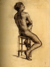 Винсент  ван Гог. Seated Male Nude Seen from the Back