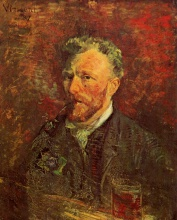 Винсент  ван Гог. Self-Portrait with Pipe and Glass