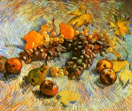 Винсент  ван Гог. Still Life with Apples, Pears, Lemons and Grapes
