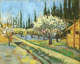 Винсент  ван Гог. Orchard in Blossom, Bordered by Cypresses