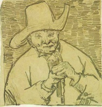 Винсент  ван Гог. The Old Peasant Patience Escalier with Walking Stick, Half-Figure