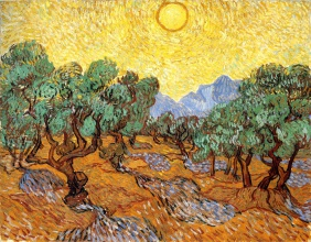 Винсент  ван Гог. Olive Trees with Yellow Sky and Sun