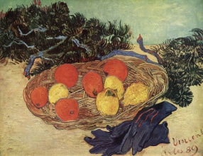 Винсент  ван Гог. Still Life with Oranges and Lemons with Blue Gloves