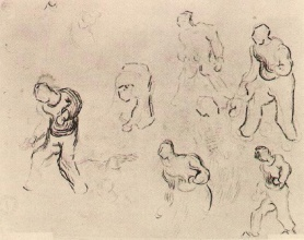 Винсент  ван Гог. Six Sketches of Figures, Among Others a Man Sowing Wheat