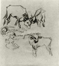 Винсент  ван Гог. Sketch of Cows and Children