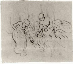 Винсент  ван Гог. Sketch of Women in a Field