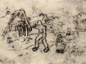 Винсент  ван Гог. Sketches of a Cottage and Figures
