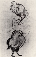 Винсент  ван Гог. Sketches of a Hen and a Cock