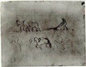Винсент  ван Гог. Sketches of Peasant Plowing with Horses