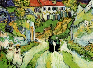 Винсент  ван Гог. Village Street and Steps in Auvers with Figures
