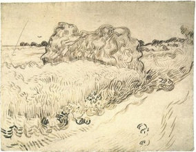 Винсент  ван Гог. Wheat Field with a Stack of Wheat or Hay