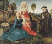 Хуго  ван дер Гус  Virgin and Child With St. Anne and a Franciscan donor