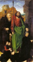 Хуго  ван дер Гус  The Portinari Altarpiece, St. Thomas and St. Anthony the Hermit with Tommaso Portinari and two sons Antonio and Pigello, Left Wing