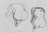 Густав  Климт  Two Studies of Sitting Nudes