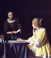 Ян  Вермеер  Mistress and Maid (Lady with Her Maidservant Holding a Letter )