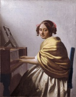 Ян  Вермеер  A young woman seated at the virginals (A young woman seated at the virginal)
