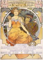 Альфонс   Муха  Art nouveau color lithograph poster showing a seated woman clasping the hand of a Native American