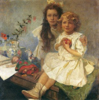 Альфонс   Муха  Jaroslava and Jiri The Artist s Children