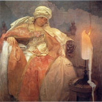 Альфонс   Муха  Woman with a Burning Candle