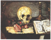 Поль  Сезан  Still life with skull, candle and book