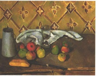 Поль  Сезан  Still life with apples, servettes and a milkcan