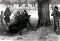 Винсент  ван Гог  Bench with Four Persons and Baby