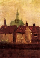 Винсент  ван Гог  Cluster of Old Houses with the New Church in The Hague