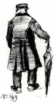 Винсент  ван Гог  Orphan Man with Long Overcoat and Umbrella, Seen from the Back 2