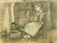 Винсент  ван Гог  Mother at the Cradle and Child Sitting on the Floor