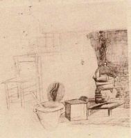 Винсент  ван Гог  Unfinished Sketch of an Interior with a Pan above the Fire