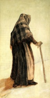 Винсент  ван Гог  Old Woman with a Shawl and a Walking-Stick