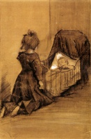Винсент  ван Гог  Girl Kneeling by a Cradle