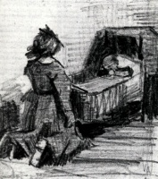 Винсент  ван Гог  Girl Kneeling in Front of a Cradle