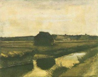 Винсент  ван Гог  Landscape with a Stack of Peat and Farmhouses
