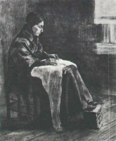 Винсент  ван Гог  Woman with Shawl, Sewing