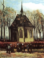 Винсент  ван Гог  Congregation Leaving the Reformed Church in Nuenen